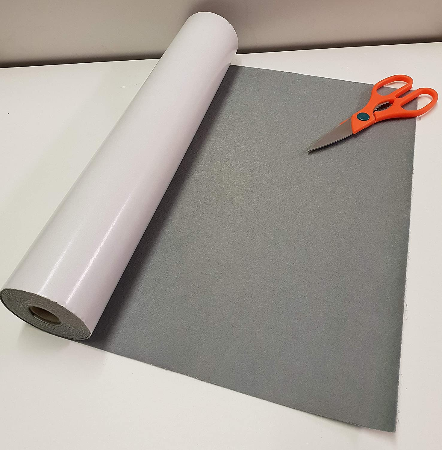 1//2 Metre x 450mm wide roll of GREY STICKY BACK  SELF ADHESIVE FELT BAIZE