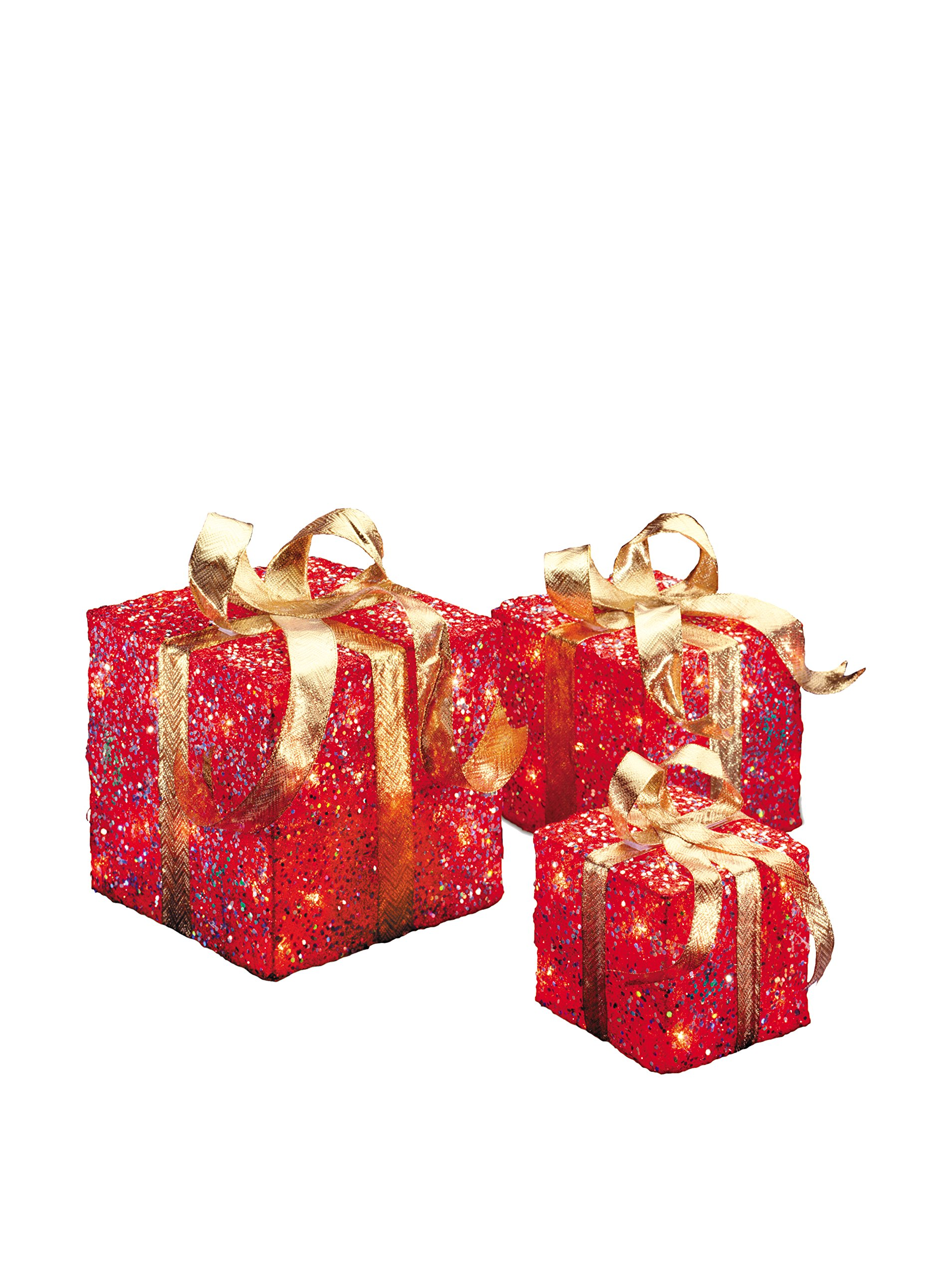 National Tree Set of 3 Assorted Red Sisal Gift Boxes with Clear Lights (MZGB-ASST-2L-1)