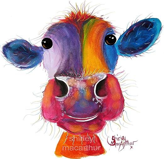 HIGHLAND CoW PRINTS WaLL ART DeCoR of Original Painting HaPPY  Shirley MacArthur