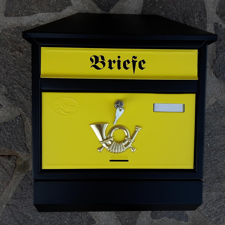 Gro/ßer Briefkasten Postkasten XXL Silber mit Zeitungsrolle Zeitungsfach Schr/ägdach Trapezdach