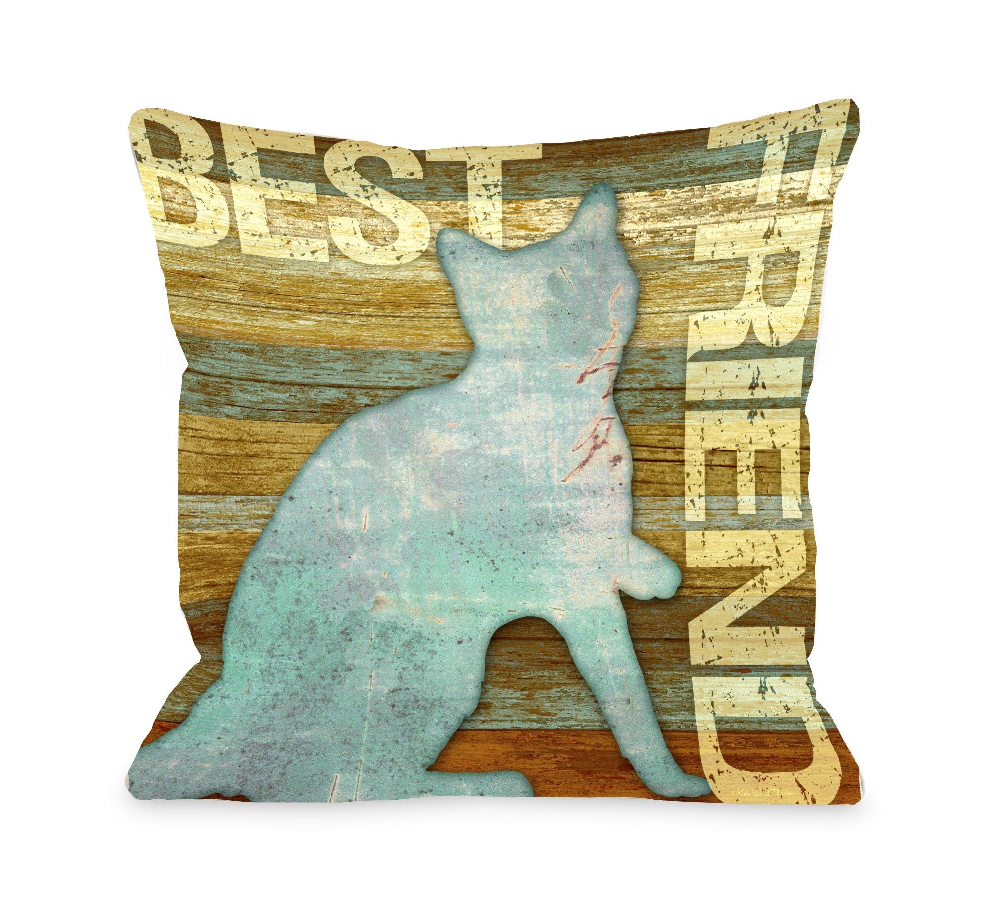 One Bella Casa Best Friend Cat Wood Throw Pillow, 26 by 26-Inch