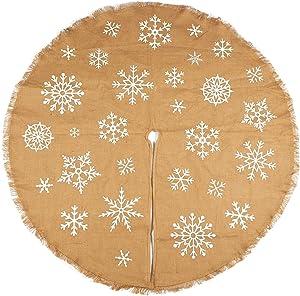 Juvale 60-Inch Christmas Tree Skirt - Circular Burlap Xmas Tree Decoration, Snowflake-Themed Christmas Tree Decor, Brown