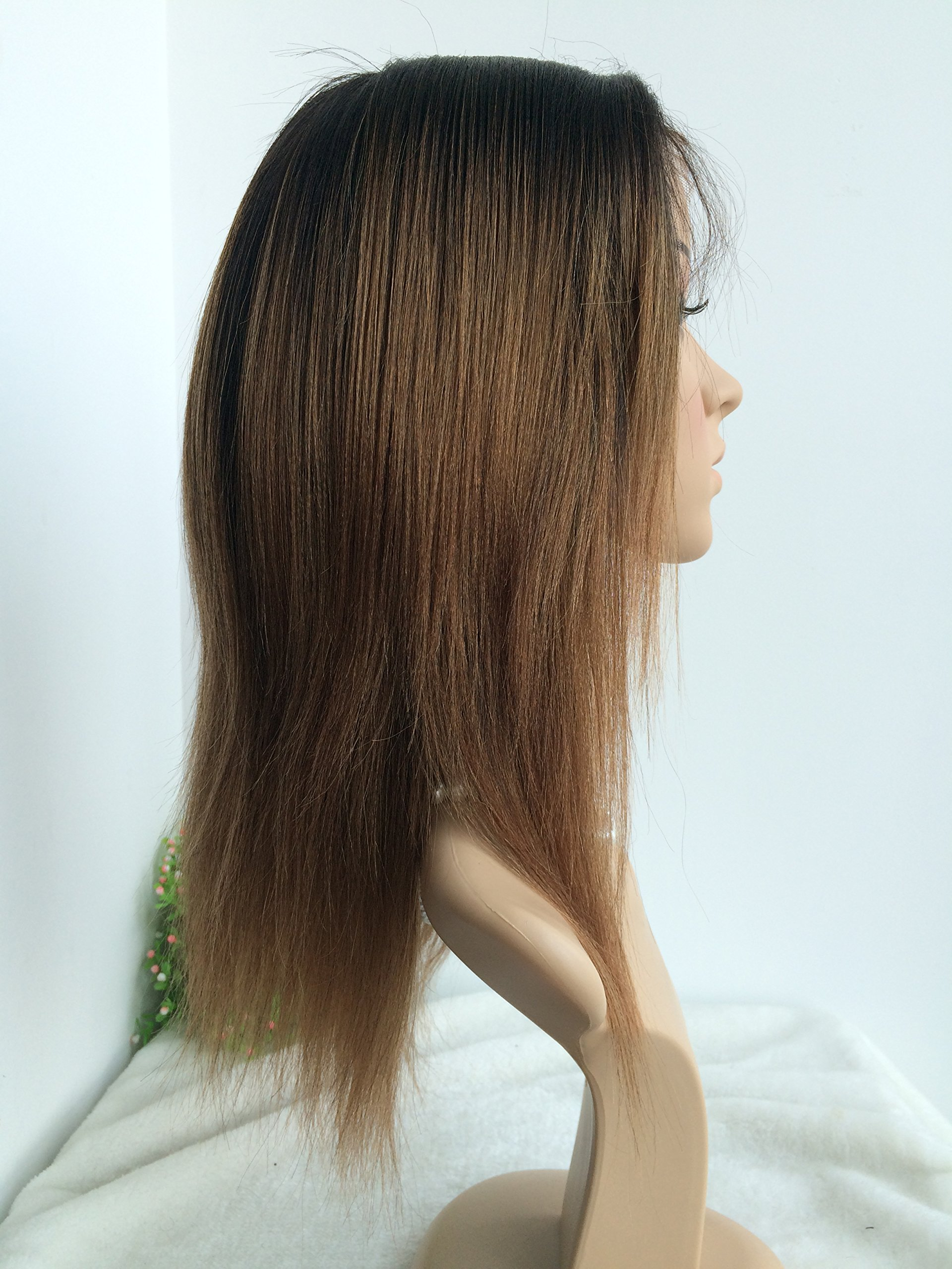CHINESE VIRGIN 10 INCH,LIGHT YAKI,FULL LACE WIGS SILK TOP,BLEACHED KNOTS--hot sale product!!! by April silk top wigs (Image #4)