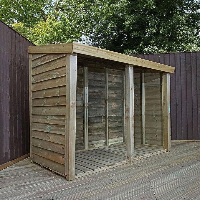 Cobertizo de madera tratada a presión para almacenar troncos, con techo inclinado, de 0, 9 x 1, 8 m: Amazon.es: Jardín