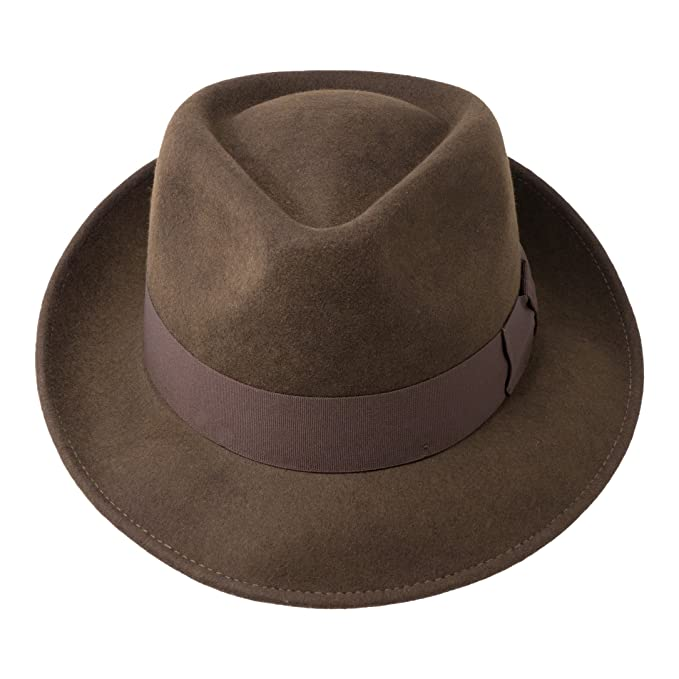 Borges   Scott B S Premium Doyle - Teardrop Fedora Hat - 100% Wool Felt -  Crushable For Travel - Water Resistant - Unisex at Amazon Men s Clothing  store  5010a34a188b