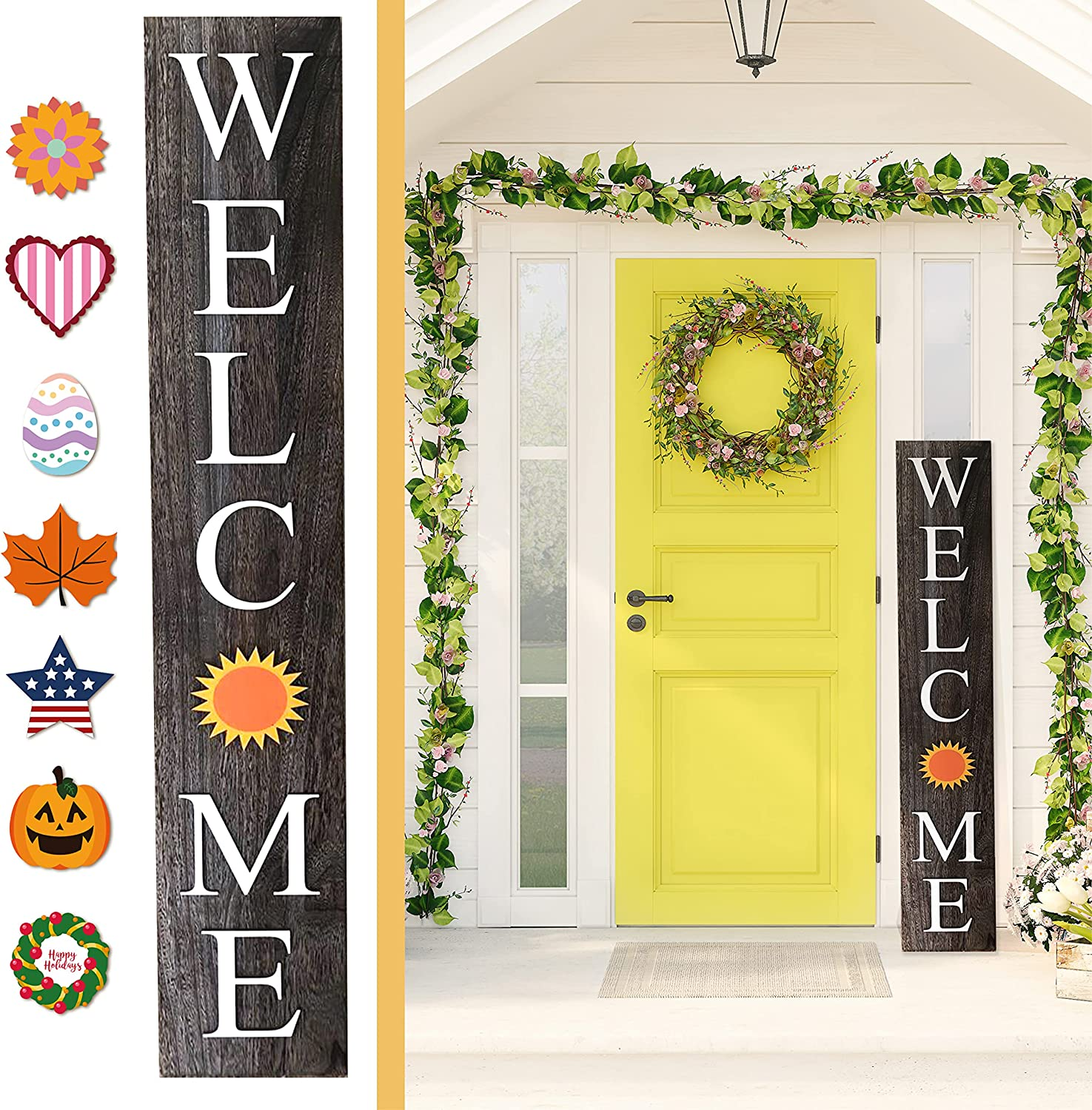 ALBEN Welcome Sign for Front Door Porch with Ornamental Tiles - 8 Interchangeable Seasonal Tiles, Celebrate Holidays and Seasons, Vertical Wooden Outdoor and Indoor Welcome Home Decor Sign (Gray)