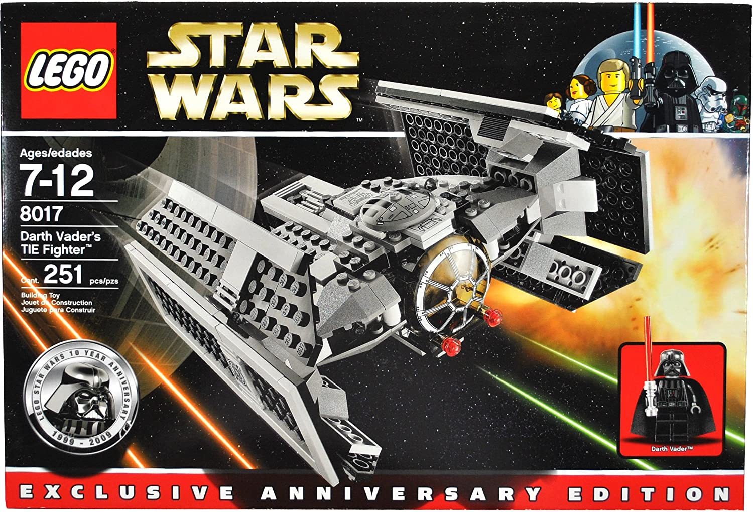 Lego Year 2009 Star Wars Classic Movie Series Exclusive Anniversary Edition Vehicle Set # 8017 - Darth Vader's Tie Fighter with Flick-Firing Missiles and Darth Vader's Minifigure with Red Lightsaber (Total Pieces: 251)