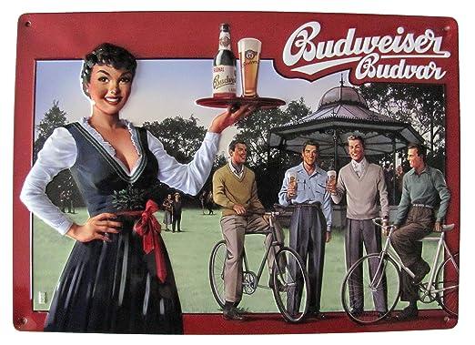 Budweiser 11 - Cartel de Chapa (30 x 20 cm), diseño con ...