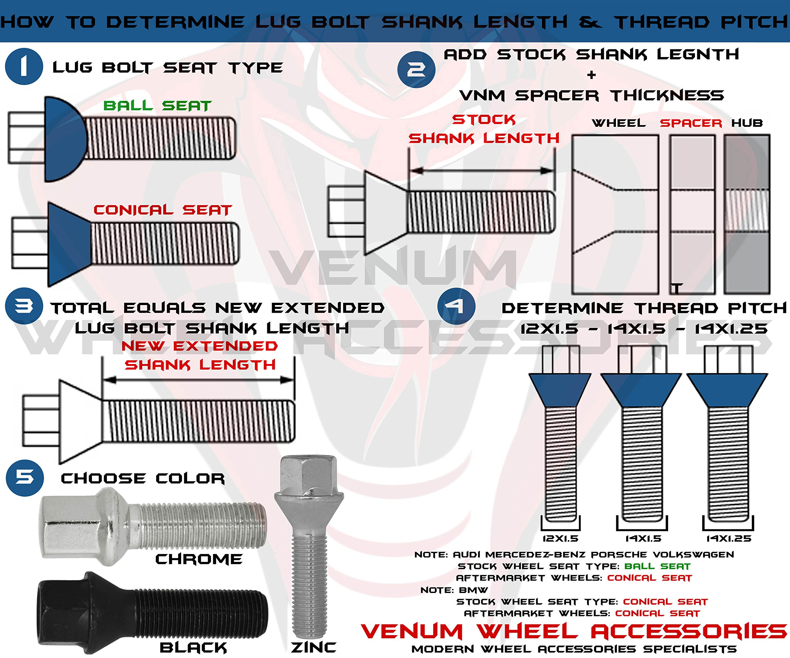 10 Extended Lug Bolts 14x1.5 Cone Seat Lug Bolts 50mm Shank Chrome Conical Seat Fits Audi Bmw Mercedes Benz Volkswagen With Aftermarket Wheels by Venum wheel accessories (Image #3)
