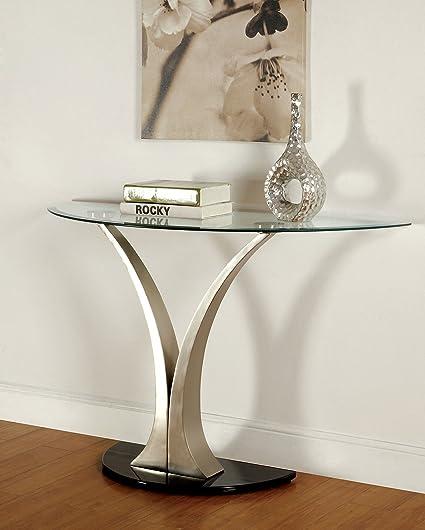 Furniture Of America Kassandra Modern Sofa Table, Metallic Finish