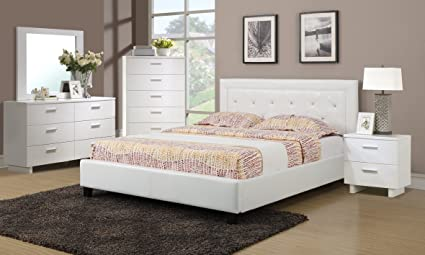 Amazon.com: White Faux Leather Solid Pine 4pc Bedroom ...