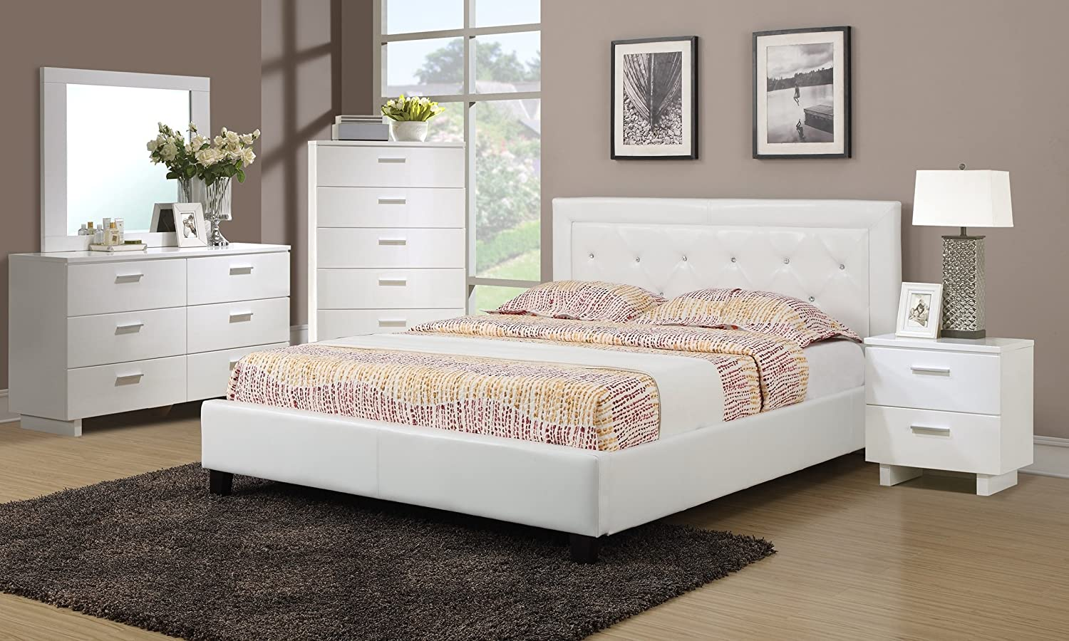 Amazon com white faux leather solid pine 4pc bedroom furniture set queen size tufted bed matching dresser mirror nightstand kitchen dining
