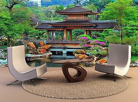 YBHNB Tapiz De Pared Pagoda Jardín Zen Chino Arte De La Pared Decoración Foto Papel Pintado Cartel Impresión De Alta Calidad-350X250Cm: Amazon.es: Hogar