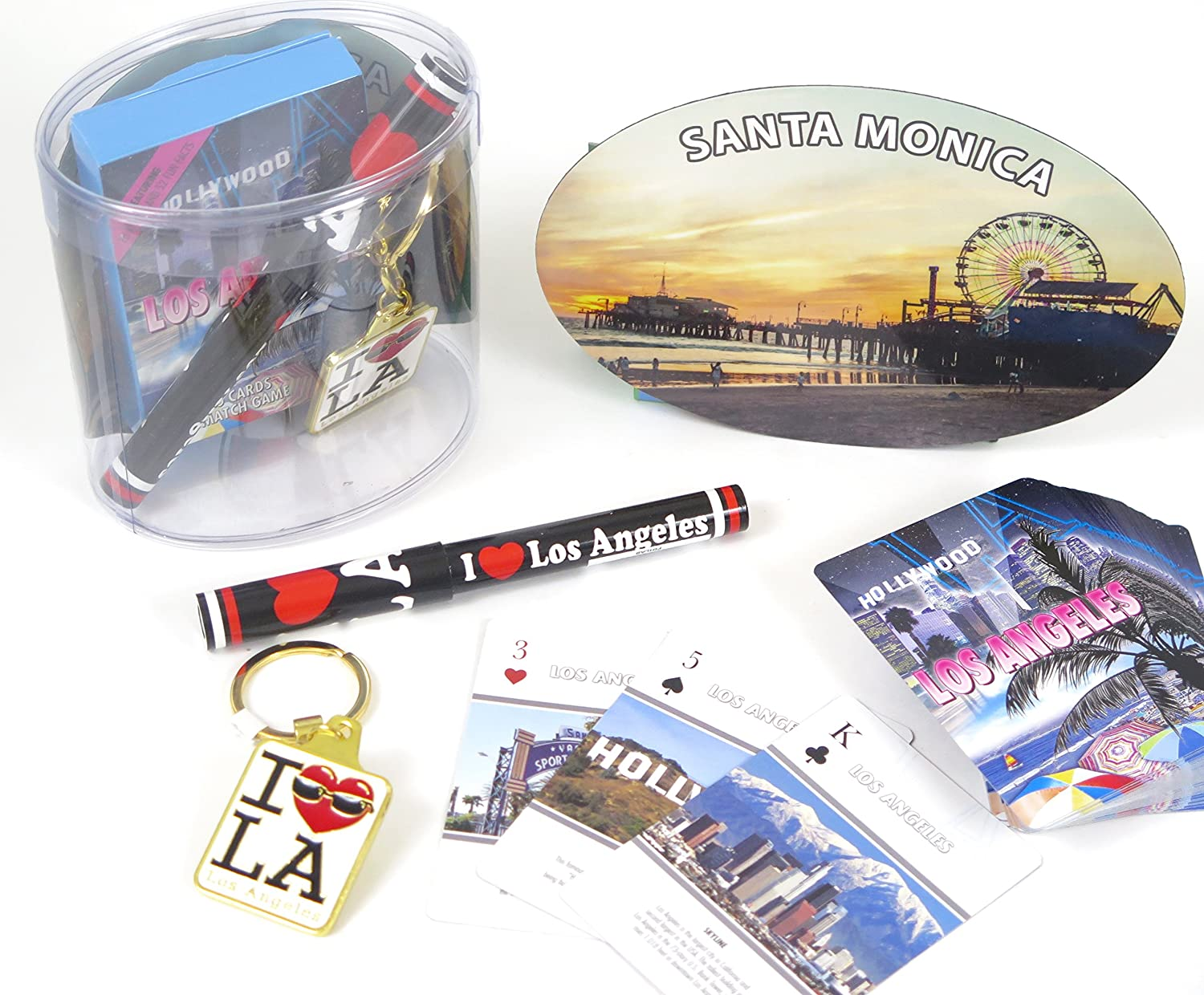 I love LA Los Angeles Souvenir gift box set includes Los Angeles playing cards and pen also includes key ring and Santa Monica large oval magnet.