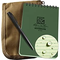 "Rite in the Rain Weatherproof 3"" x 5"" Top Spiral Notebook Kit: Tan CORDURA Fabric Cover, 3"" x 5"" Green Notebook, and an Weatherproof Pen (No. 935-KIT)"