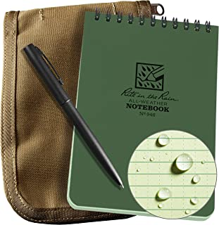 """product image for Rite In The Rain Weatherproof 4"""" x 6"""" Top-Spiral Notebook Kit: Tan CORDURA Fabric Cover, 4"""" x 6"""" Green Notebook, and an Weatherproof Pen (No. 946-KIT)"""