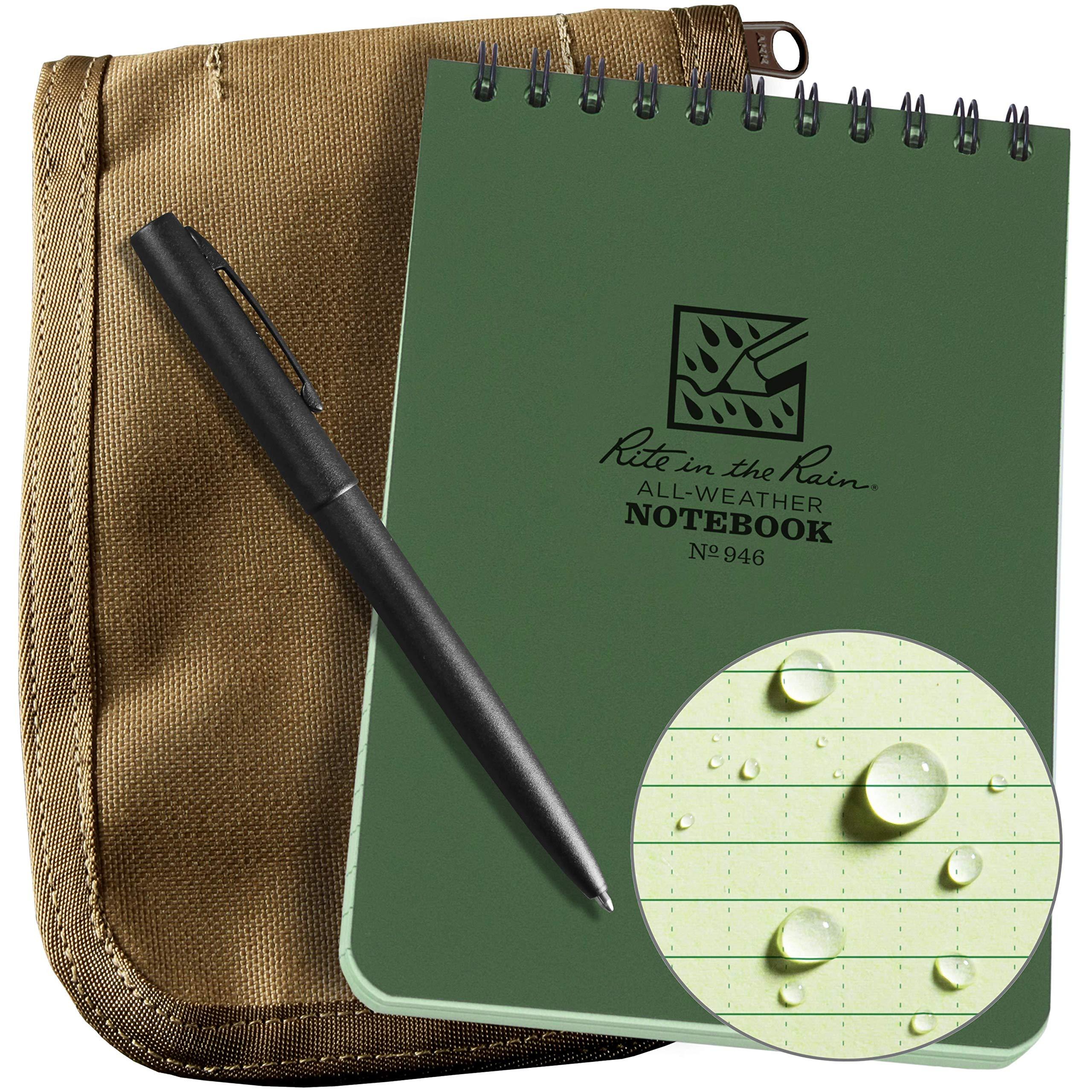 Rite In The Rain Weatherproof 3'' x 5'' Top-Spiral Notebook Kit: Tan Cordura Fabric Cover, 3'' x 5'' Green Notebook, and an Weatherproof Pen (No. 935-KIT) by Rite In The Rain