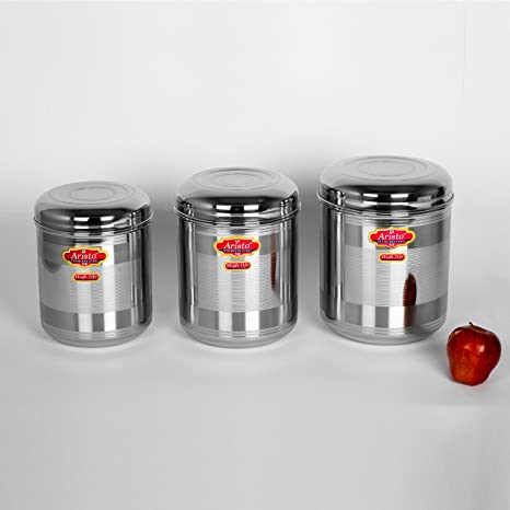 Aristo Stainless Steel Containers, Set of 3, Silver Jars   Containers