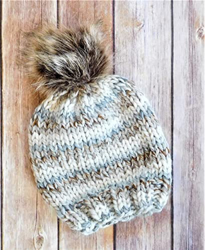 a4ae1a223 Amazon.com: Knit Toddler Hat - Chunky Knit Faux Fur Pom Pom Hat ...