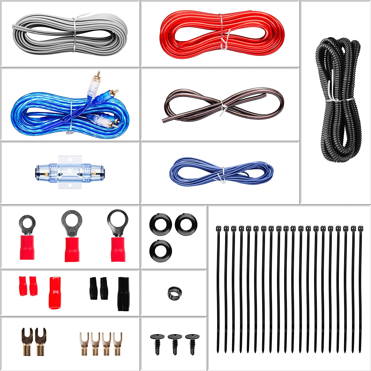 Planet Audio 4gpk 4 Gauge Amplifier Installation Wiring Kit Amazon Vibe Slick 2000w Car Amp Power Cable Wire Electronics