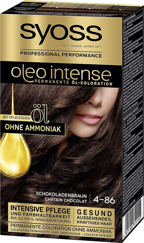 SYOSS Oleo Intense - Coloración permanente de aceite 4-86 chocolate, con aceite nutritivo y sin amoniaco, 3 unidades (3 x 115 ml)