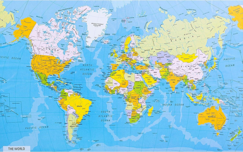 Cartina Mondo Paesi.Mappa Del Mondo Dettagliata Con Nomi Di Citta E Paesi Misura Grande Dimensioni 84 X 52 Cm Amazon It Casa E Cucina