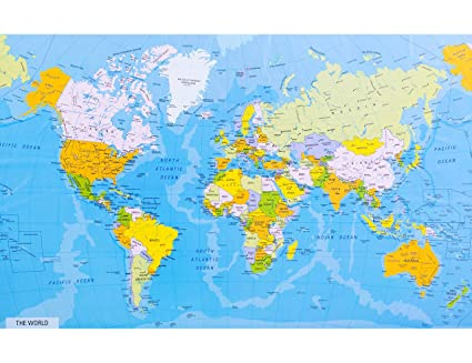 Cartina Geografica Tutto Il Mondo.Ofa Prints Mappa Del Mondo Dettagliata Con Nomi Di Citta E