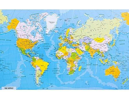 Cartina Geografica Mondo Con Nomi.Ofa Prints Mappa Del Mondo Dettagliata Con Nomi Di Citta E