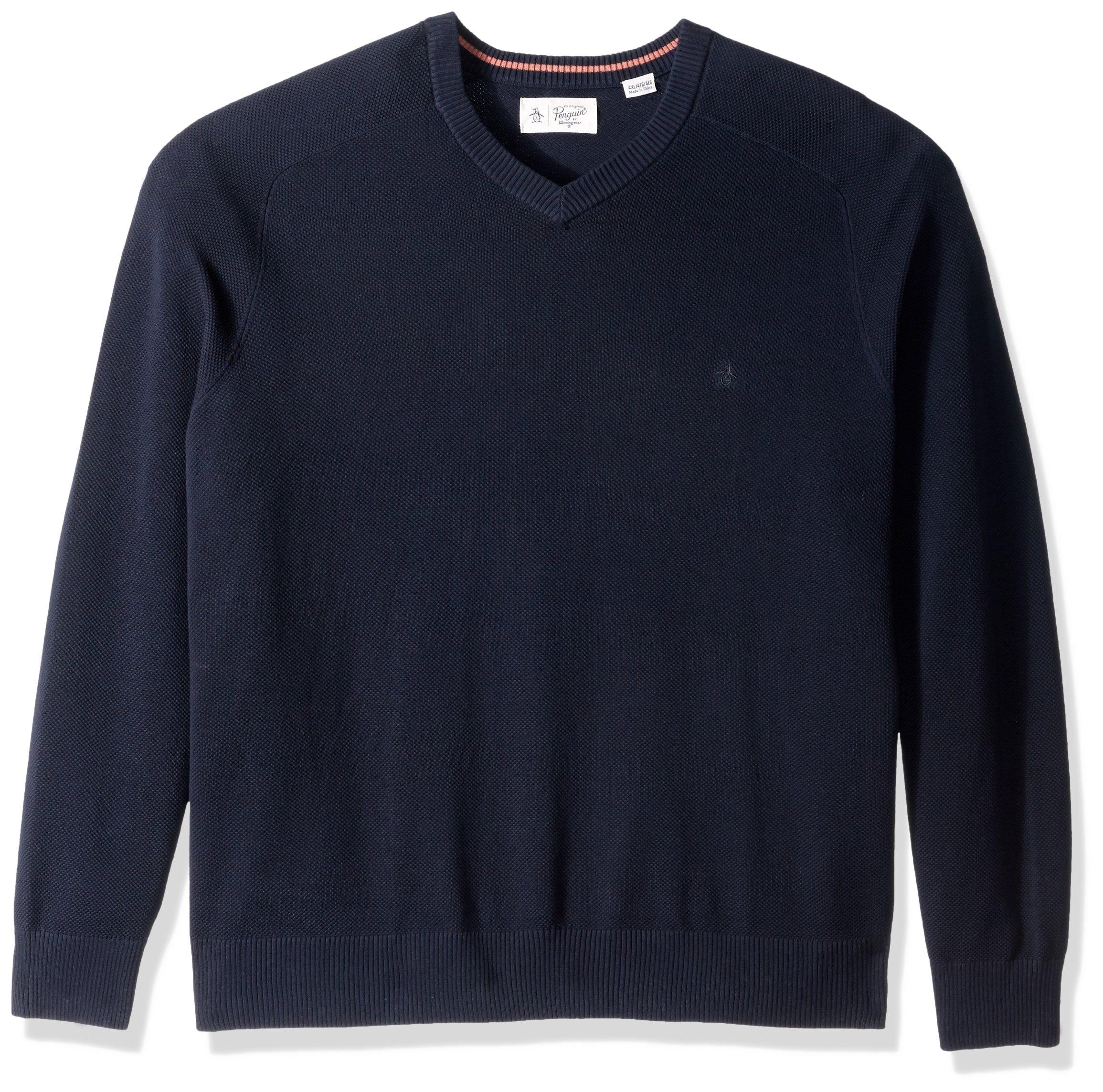 Original Penguin Men's Big and Tall Honeycomb V-Neck Sweater, Dark Sapphire, 1 XL-Extra Large
