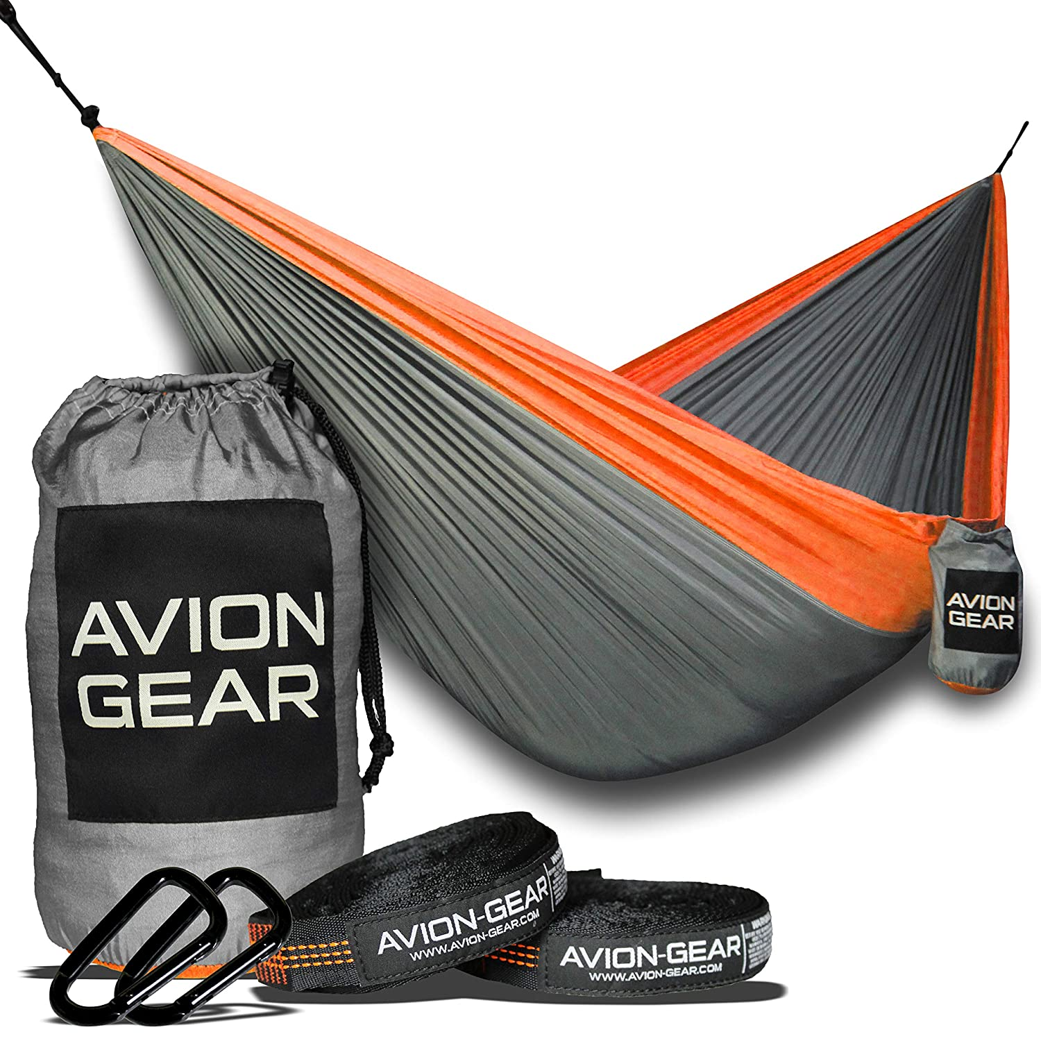 Avion Gear Hammock Portable and Lightweight Perfect for Camping Complete Kit 2 Hammock Tree Straps 2 Hammock Carabiners and a Double Nylon Parachute Hammock Outdoor Portable Hammock Orange