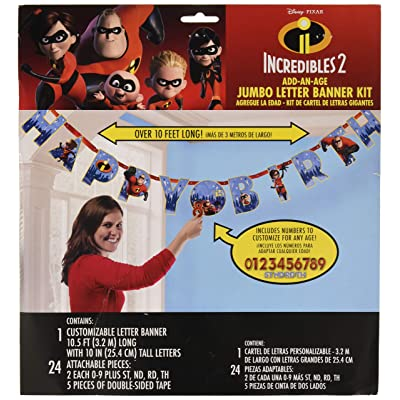 """amscan Disney/Pixar Incredibles 2"""" Jumbo Add-an-Age Happy Birthday Letter Banner, Multicolor, Standard: Toys & Games"""