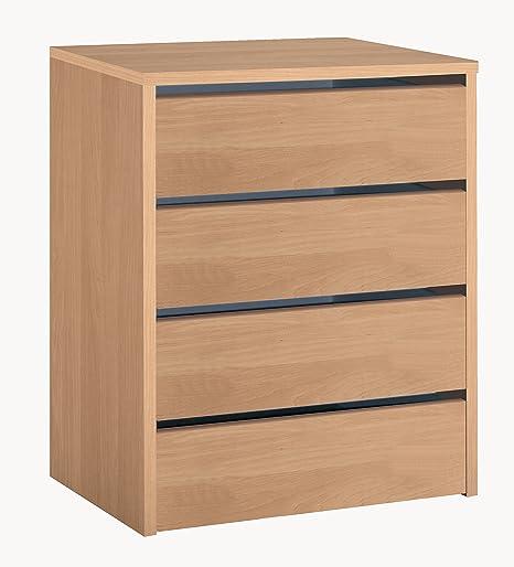 Cajonera de armario color roble, 4 cajones, mueble auxiliar para almacenamiento extra. 61cm altura x 46cm ancho x 45cm fondo