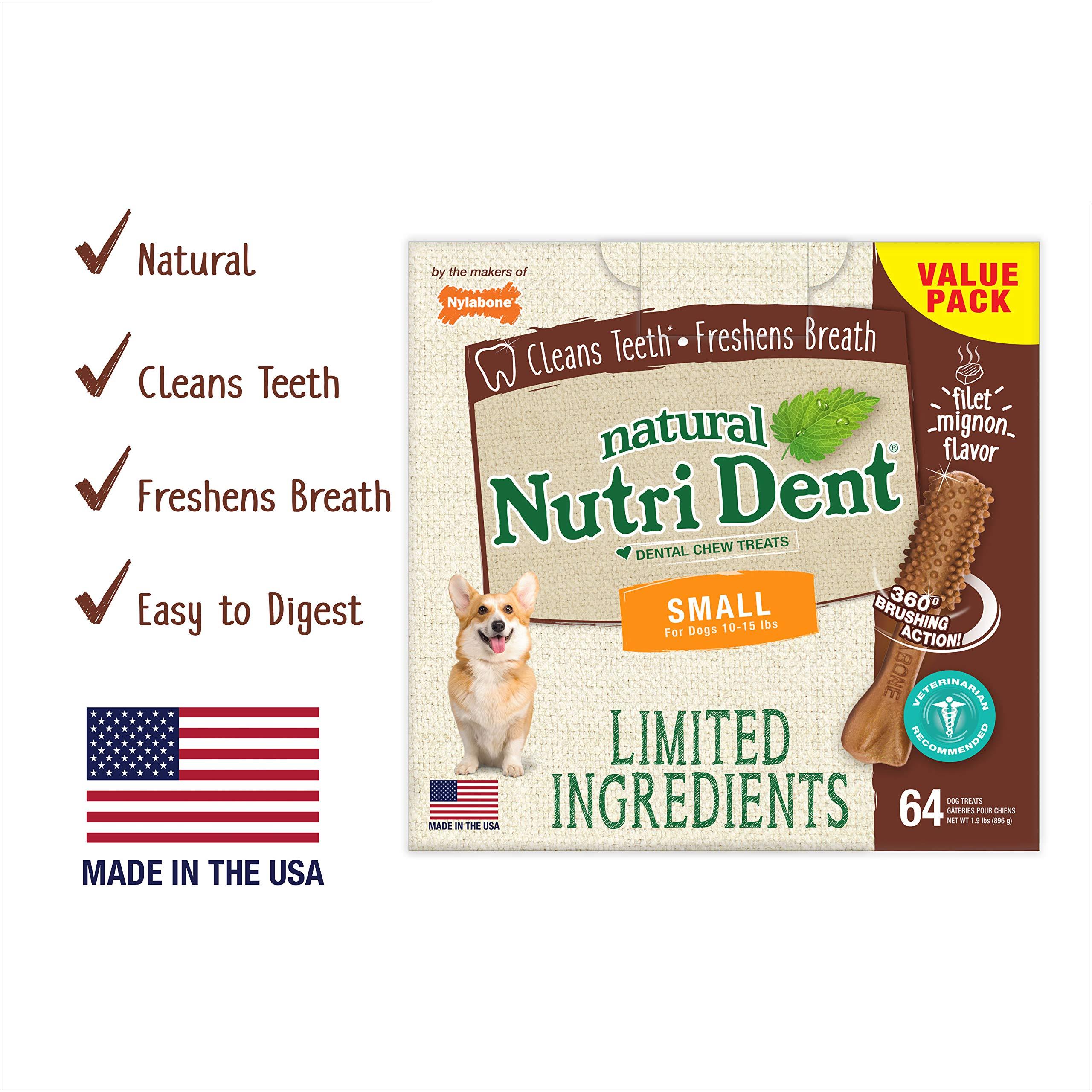 Nylabone NutriDent Natural Dental Chew Treats Filet Mignon, Small, 64 Count
