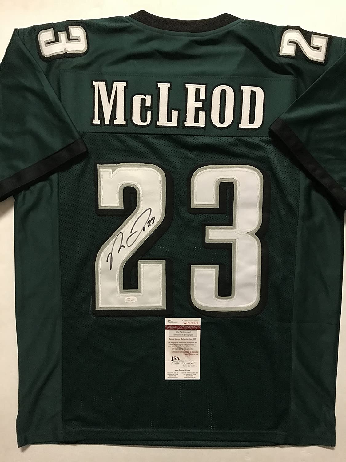 ce6149194 Autographed Signed Rodney McLeod Philadelphia Green Football Jersey JSA COA  at Amazon s Sports Collectibles Store