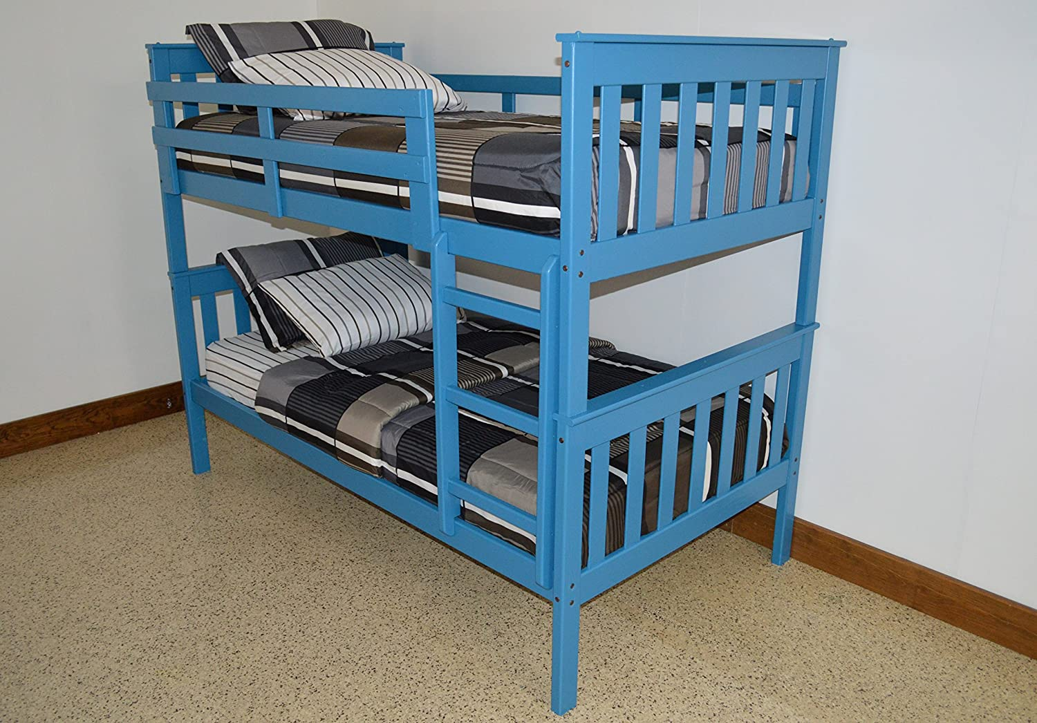 Amazon Com Best Bunk Beds For Kids With Ladder Twin Over Twin Mission Bed Bunkbeds Amish Made In The Usa As Quality Matters Sturdy Long Lasting Bedroom Furniture For Children Sky Blue