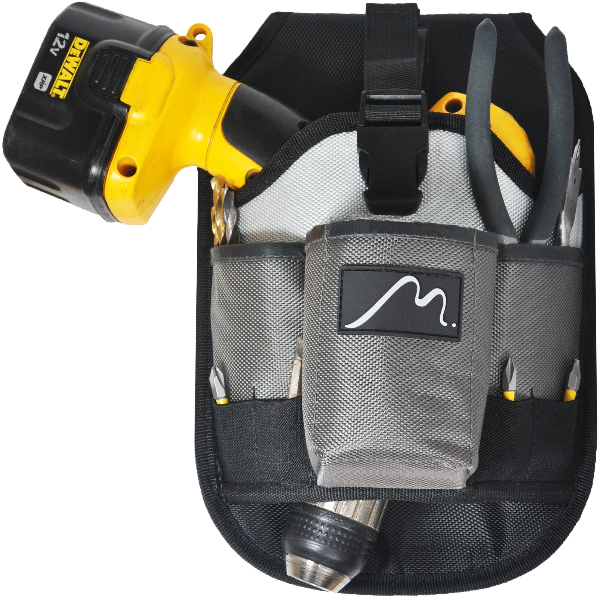 Cordless Drill Holster by Metier Life | Magnetic Organizer Pouches for Drill Bits and Extenders | Large Open Pocket for Screws and Accessories | Left Right Handed Use (Grey) by Metier Life (Image #2)