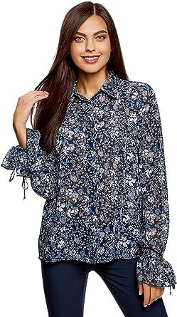 oodji Ultra Mujer Blusa de Tejido Combinado con Puños a la Moda: Amazon.es: Ropa y accesorios