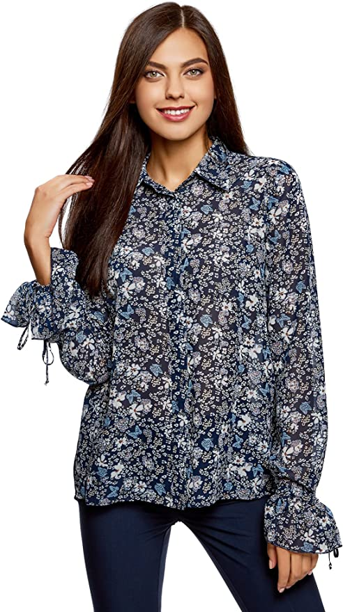 oodji Ultra Mujer Blusa de Tejido Combinado con Puños a la Moda