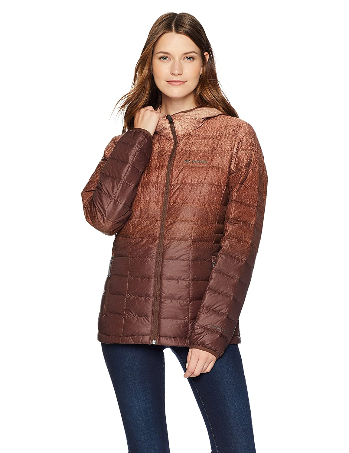 Bright Copper Gradient Print Columbia Women's Voodoo Falls 590 TurboDown Hooded Jacket, Thermal Puffer