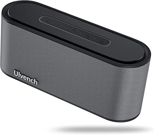 Portable Wireless Speaker, Ulvench Bluetooth V4.2 20W Stereo Speaker with Enhanced Bass and HiFi Sound Dual-Driver, 10 Hours Playtime with Built-in Mic AUX SD Input for Home Party Car and Gift Black