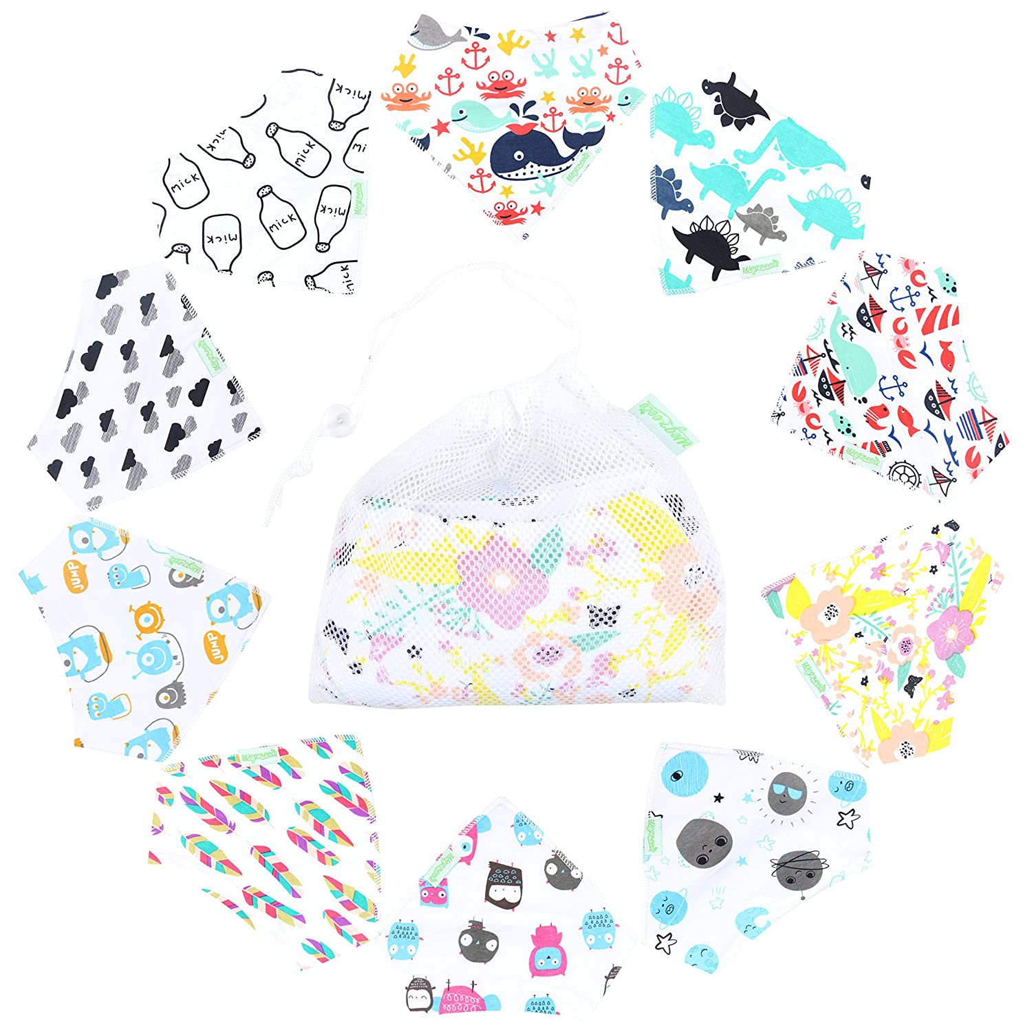 10-Pack Unisex Baby Bandana Drool Bibs for Babies, Toddlers - Organic Cotton Absorbent Bib Bandana Wegreeco WE-AA03-1