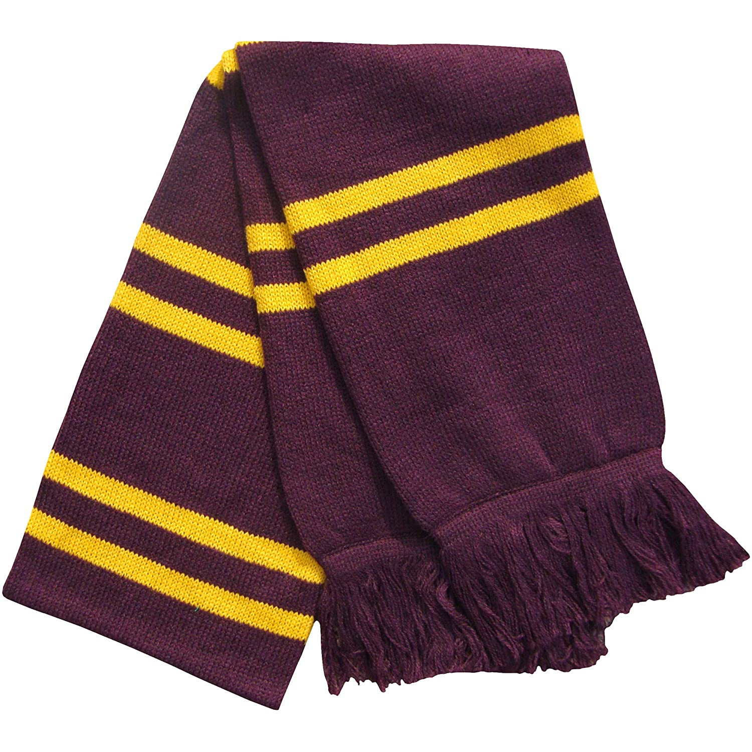 Kid's Burgundy & Yellow Thermal Knitted Magical Wizard Long Scarf