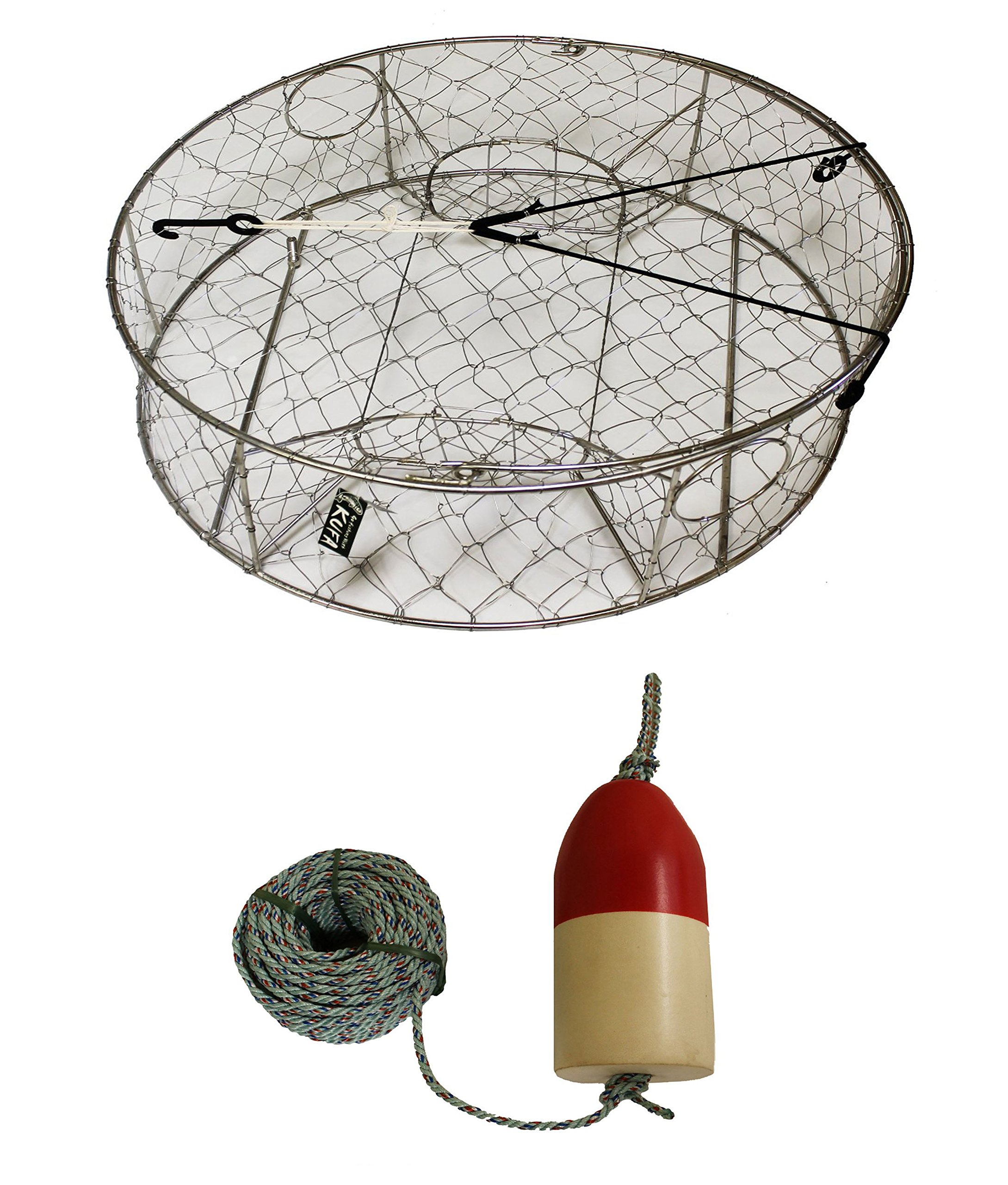 KUFA Stainless Steel Crab Trap, 5/16'' x 100' Lead rope and 5''x11'' Red/White Float Combo (CT100+FWL100+ZIN1)