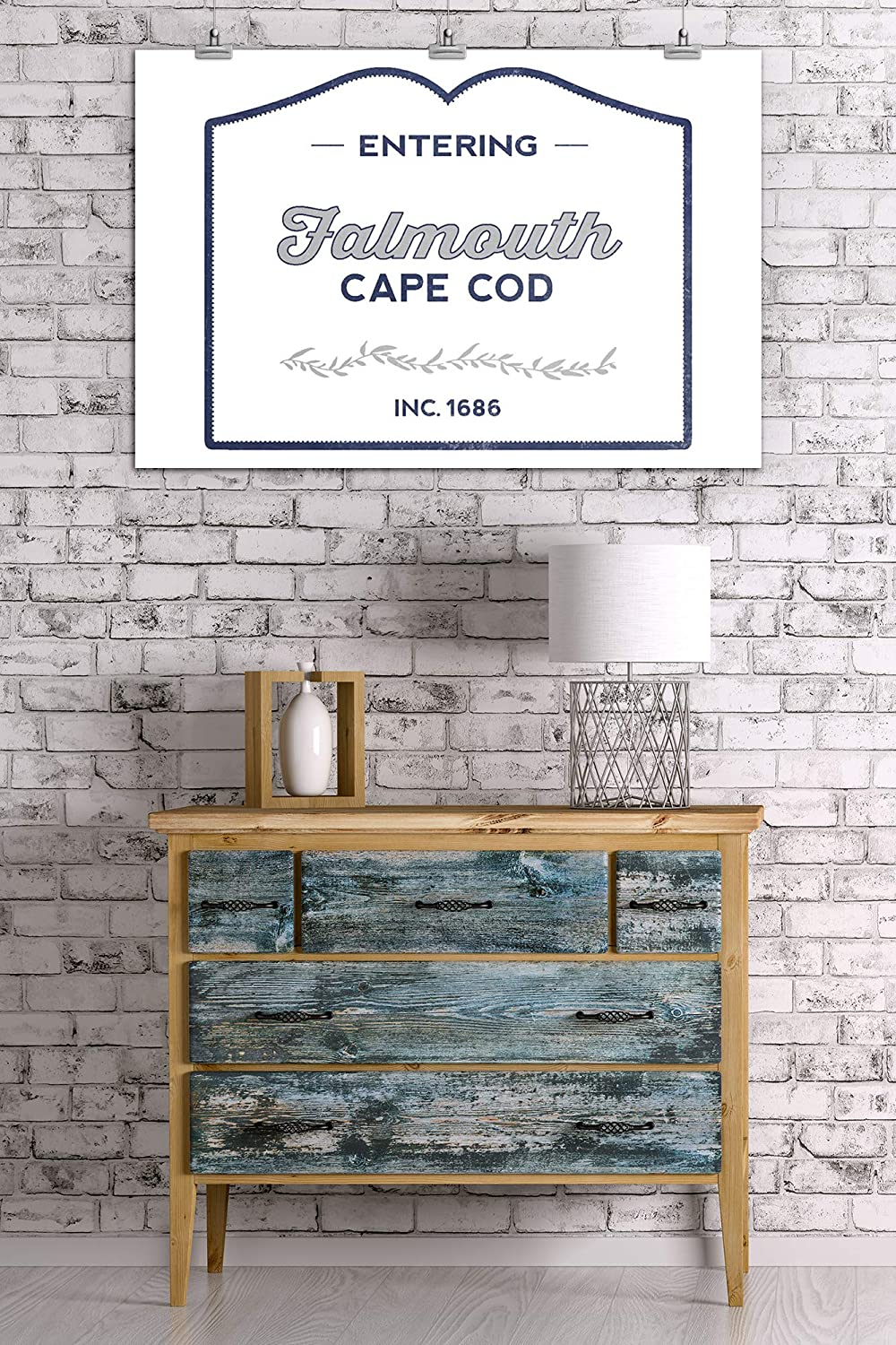 Cape Cod 24x36 SIGNED Print Master Art Print - Wall Decor Poster Falmouth Now Entering Massachusetts Blue 77527