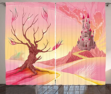 Amazon.com: Ambesonne Fantasy Curtains by, Princess Castle on Valley ...