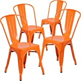 Merveilleux Flash Furniture 4 Pk. Orange Metal Indoor Outdoor Stackable Chair