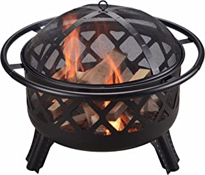 Peaktop CU296 Round Steel Wood Burning Fire Pit with Spark Screen and Fireplace Poker for Outdoor Patio Garden Bakyard Decking, 30 Inch Length, Black, 30.0