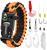 Paracord Bracelet Emergency Kit 17 pcs Survival Gear by A2S - Ultimate Survival Series includes 12 pcs Fishing Gear & Baits - Emergency Food Preparedness for all
