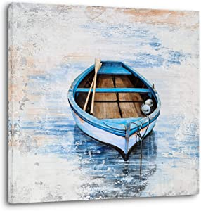 Coastal Canvas Wall Decor Hand Painted Light Blue Sailing Boat Painting Square Pictures Modern Abstract Nautical Artwork for Living Room Bedroom Bathroom Decoration