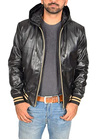 Mens Real Leather Hoodie Jacket Bomber Style Slim Fit Frank Black (Small)